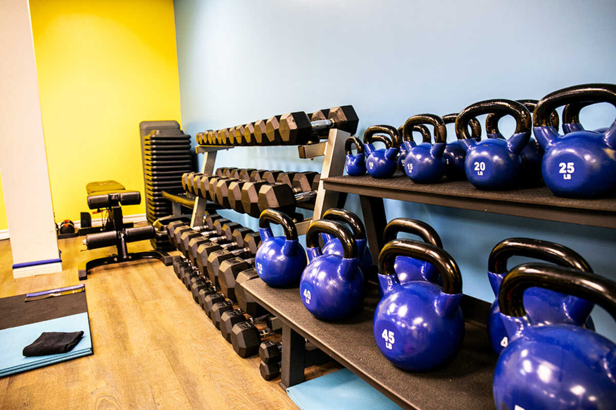 Dumb Bells and Kettle Bells for Training at Elite Training Facility
